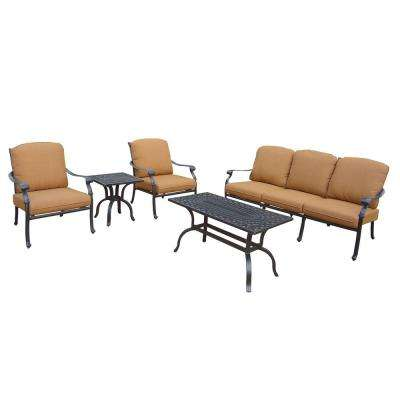 Cast Aluminum 5 Piece Patio Deep Seating Set With Sunbrella Cushions