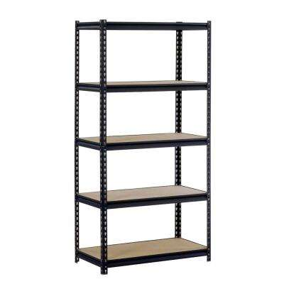 72 in. H x 36 in. W x 18 in. D 5-Shelf Steel Commercial Shelving Unit in Black