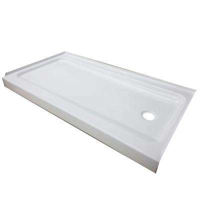 ShowerCast Plus 60 in. x 32 in. Single Threshold Shower Pan in White with Right Drain