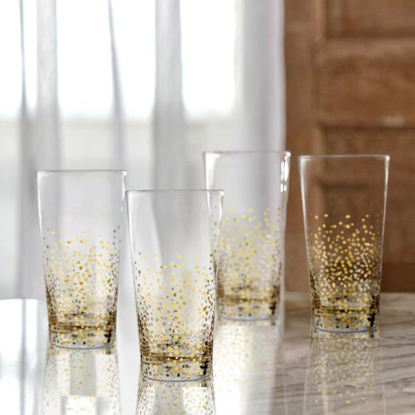 FITZ and FLOYD 16.2 oz. Gold Luster Highball Glasses (4-Pack) 229700-hb