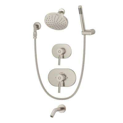 Sereno Single-Handle 1-Spray Tub and Shower Faucet in Satin Nickel (Valve Included)