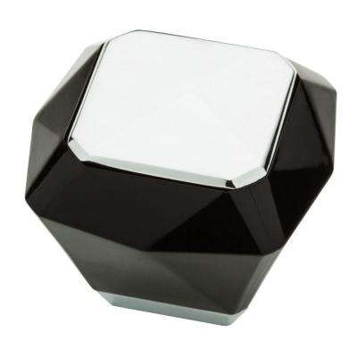 Kaley 1-3/8 in. (35mm) Polished Chrome and Black Square Cabinet Knob