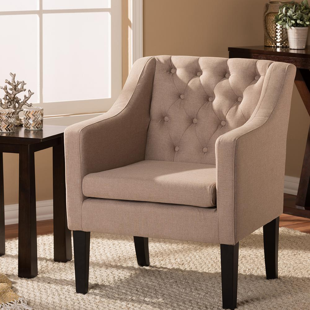 Contemporary fabric chairs - Baxton Studio Brittany Contemporary Beige Fabric Upholstered Accent Chair