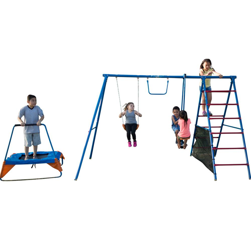 Fitness Reality Kids Fun Series Metal Swing Set With Trampoline And