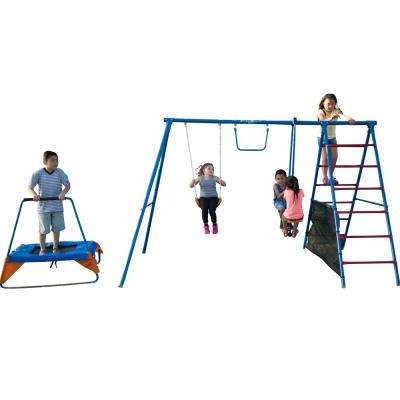 Fun Series Metal Swing Set with Trampoline and Ladder Climber