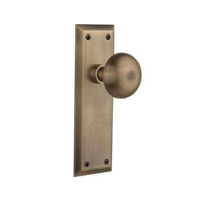 New York Plate Single Dummy New York Door Knob in Antique Brass
