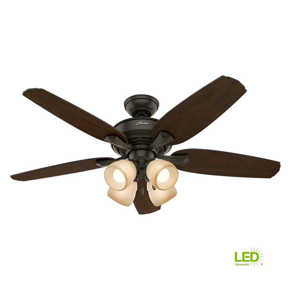 Hunter Channing 52 in  LED Indoor New Bronze Ceiling Fan with Light Kit  Bundled with Hunter Handheld Remote Control