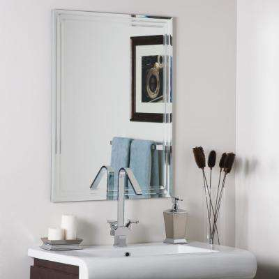 31.5 in. x 23.6 in. Rectangle Frameless Tri-Bevel Wall Mirror with Beveled Edge