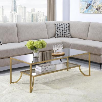 Magalie Antique Gold and Glass Coffee Table