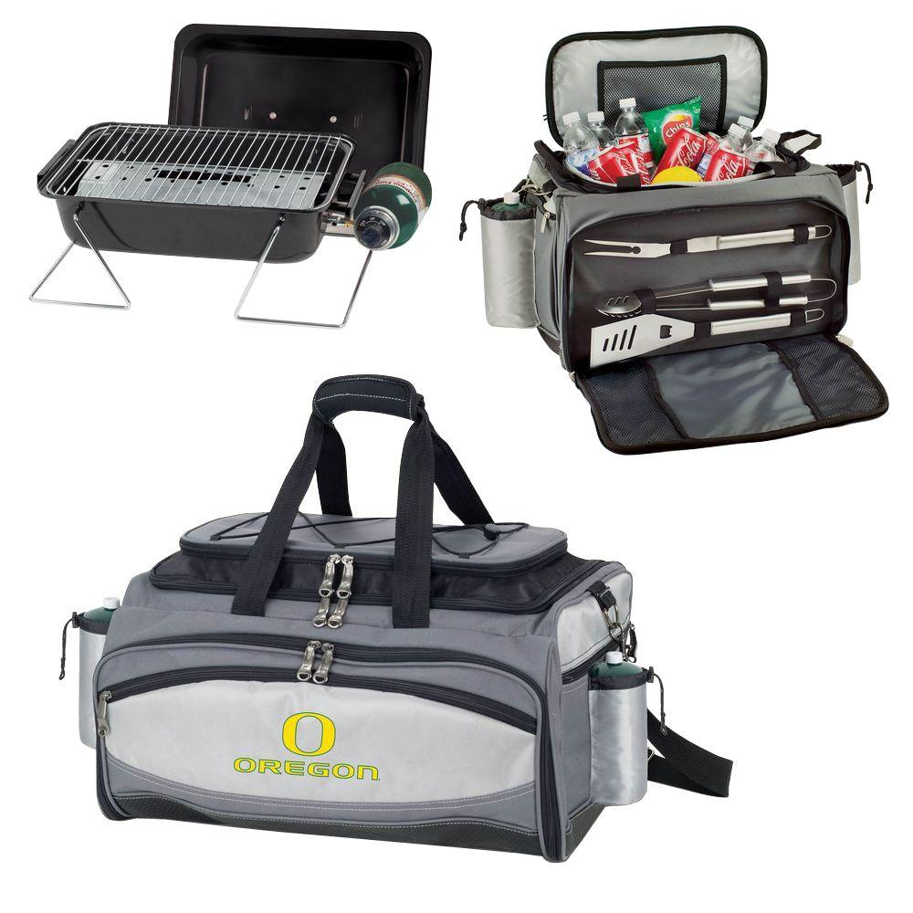 Picnic Time Oregon Ducks - Vulcan Portable Propane Grill and Cooler Tote by Digital Logo, Black/Gray