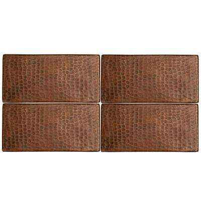 3 in. x 6 in. Hammered Copper Decorative Wall Tile in Oil Rubbed Bronze (4-Pack)