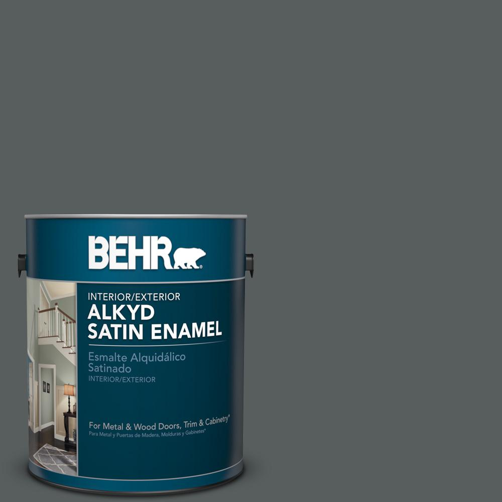 1 gal. #N500-6 Graphic Charcoal Satin Enamel Alkyd Interior/Exterior Paint