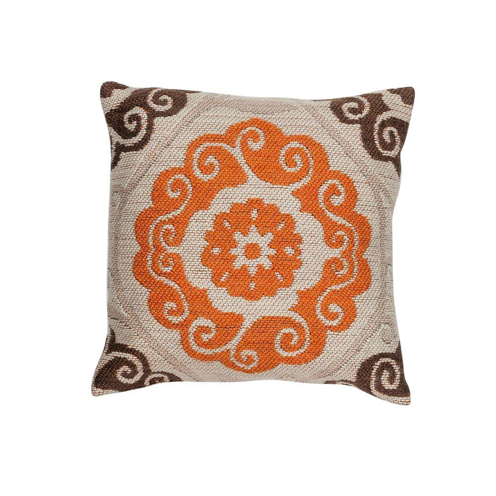 Throw Pillows And Rugs : Kas Rugs Waves Ivory/Brown Decorative Pillow-PILL23118SQ - The Home Depot