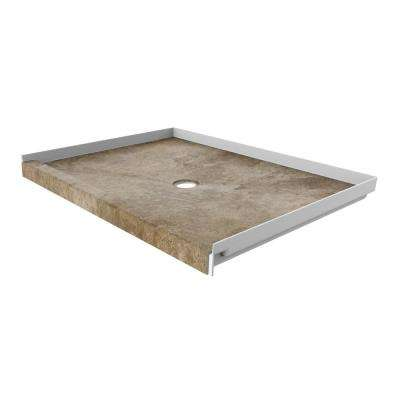 48 in. x 34 in. Single Threshold Shower Base with Center Drain in Mocha Travertine