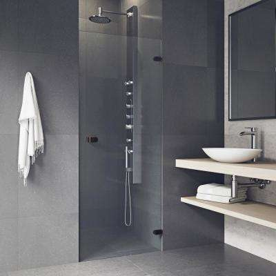 Tempo 30.5 in. x 70.625 in. Adjustable Frameless Shower Door with Hardware in Antique Rubbed Bronze and Clear Glass