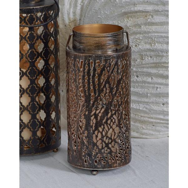 16 in. Rustic Brown Quatrefoil and Forest Candle Lanterns (Set of 2)