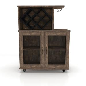 Deals on Furniture of America Ari Reclaimed Oak Mobile Mini Bar