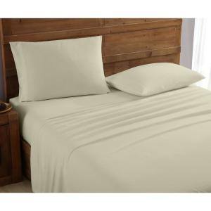 Mhf Home 4-Piece Beige Solid Full Sheet Set