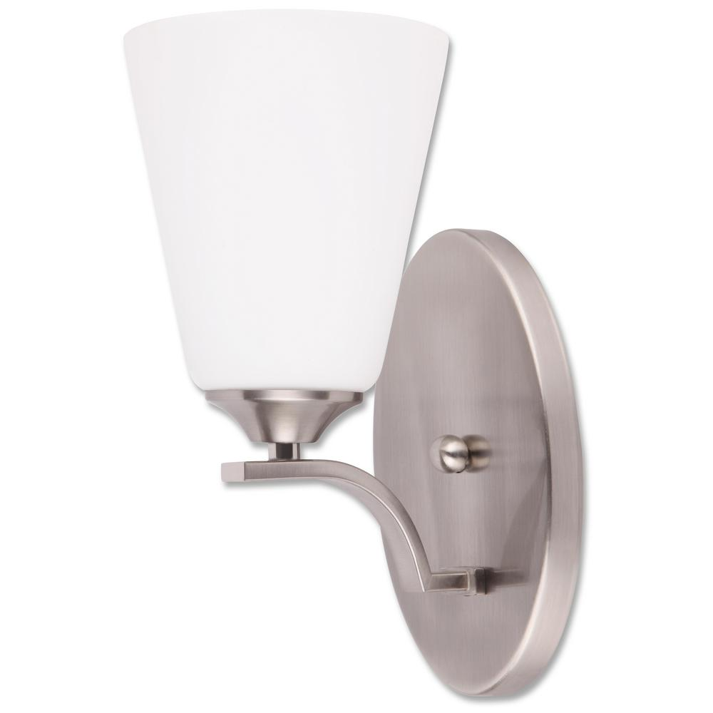 1-Light Satin Nickel Wall Mount Sconce Light