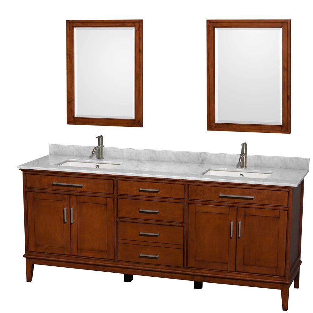 Wyndham Collection Hatton 80 in. Double Vanity in Light Chestnut with Marble Vanity Top in Carrara White, Square Sink and Mirrors