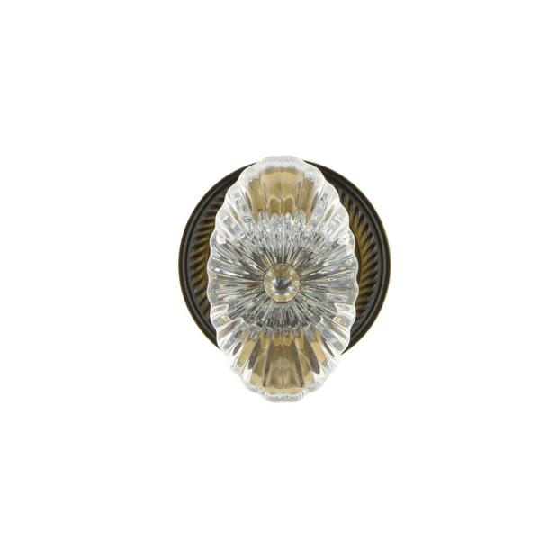 Nostalgic Warehouse Rope Rosette 2 3 4 In Backset Antique Brass Privacy Bed Bath Oval Fluted Crystal Glass Door Knob In 717665 The Home Depot