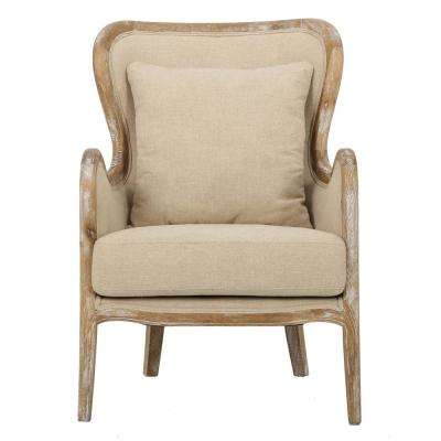 Crenshaw Beige Fabric Wing Chair