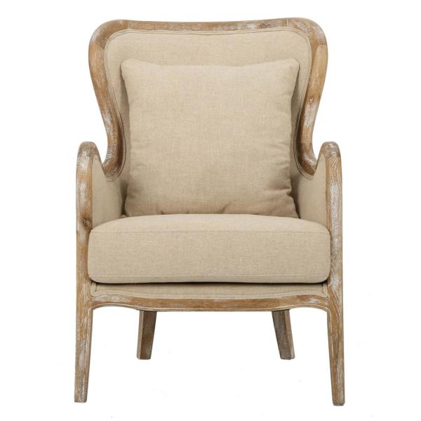 Noble House Crenshaw Beige Fabric Wing Chair - Come discover more French Farmhouse Decor inspired by Fixer Upper and click here to Get the Look of The Club House Kitchen & Sun Room. #fixerupper #joannagaines #kitchendecor #frenchfarmhouse