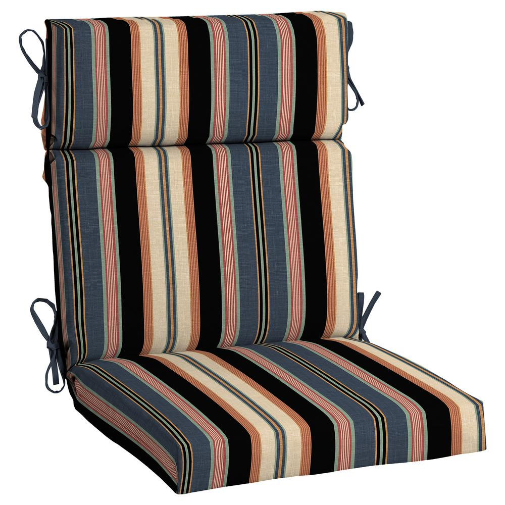 Black Stripe Outdoor High Back Dining Chair Cushion