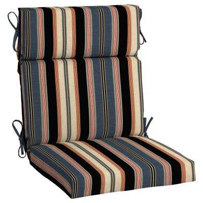 Black Stripe Outdoor High Back Dining Chair Cushion