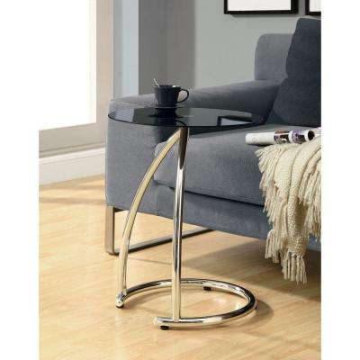 Black and Chrome Glass Top End Table