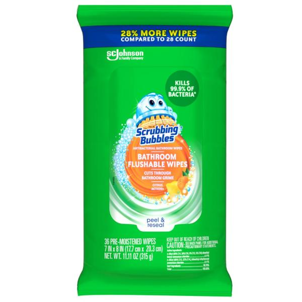 36-Count Antibacterial Bathroom Flushable Wipes