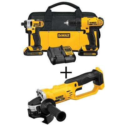 20-Volt MAX Lithium-Ion Cordless Drill/Driver & 4-1/2 in. Grinder Combo Kit (2-Tool) w/ (2) 20-Volt MAX Batteries 1.3Ah