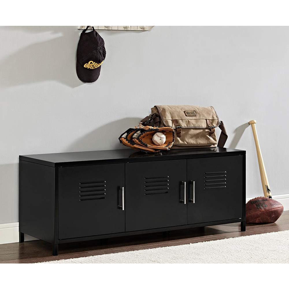 Walker Edison Furniture Company Locker Style 48 In Black Metal Storage Bench Hdm48lsbl The