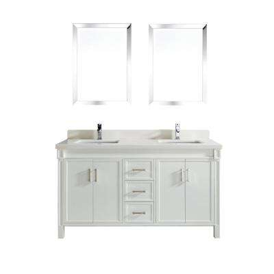 Serrano 63 in. W x 22 in. D Vanity in White with Quartz Vanity Top in White with White Basin