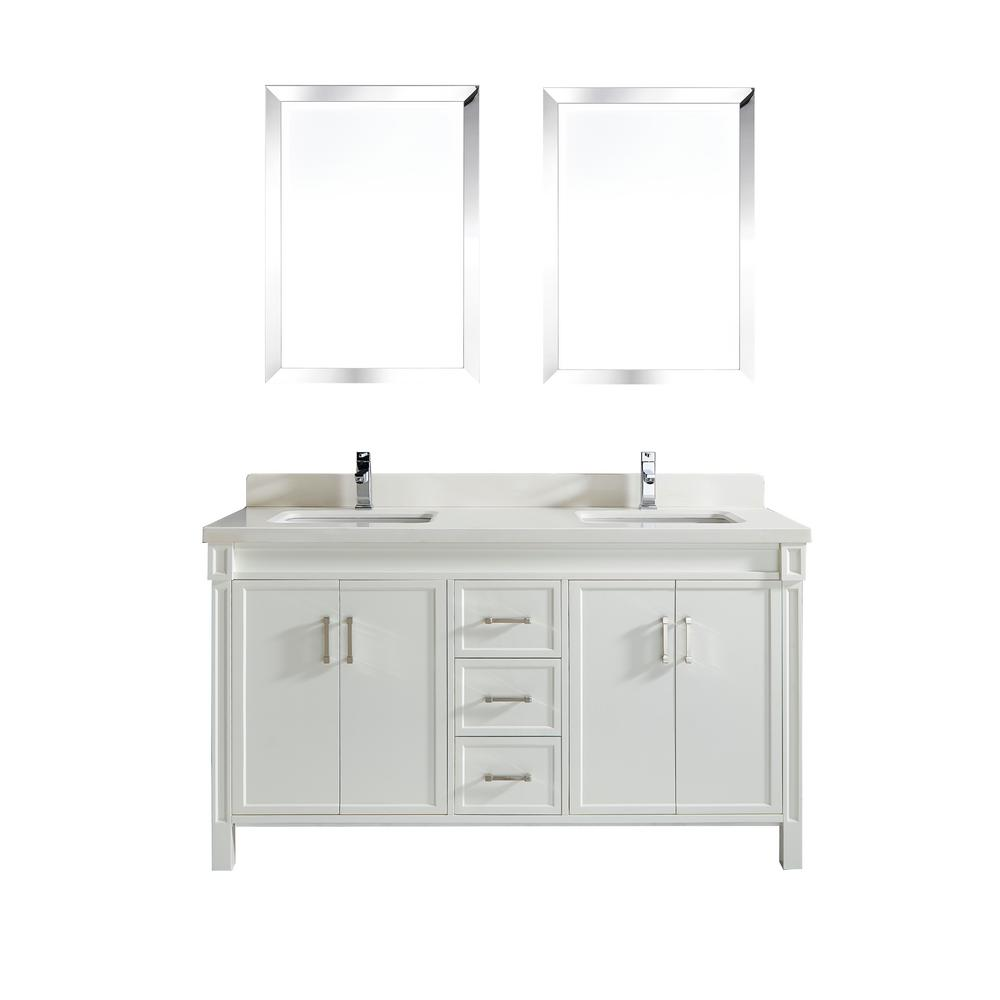 Studio Bathe Serrano In W X In D Vanity In White With - 63 inch double sink bathroom vanity for bathroom decor ideas