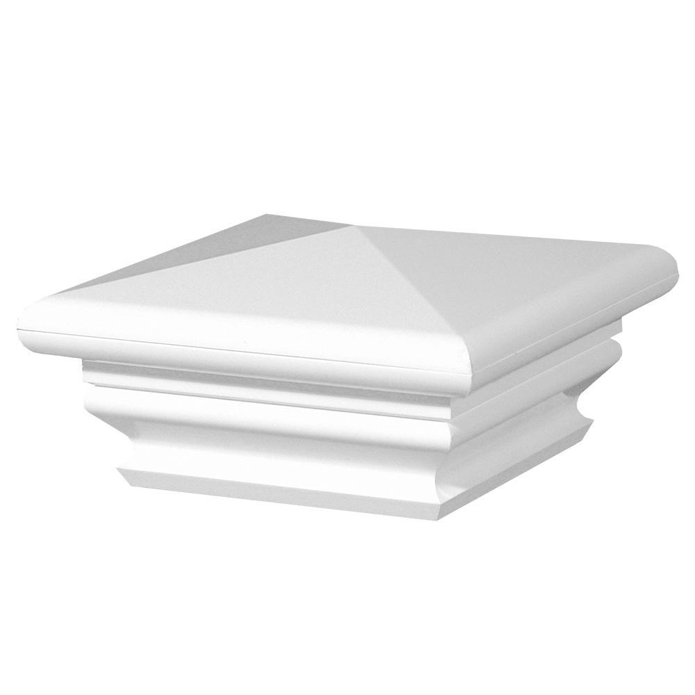 5 in. x 5 in. White Vinyl Federation Post Cap