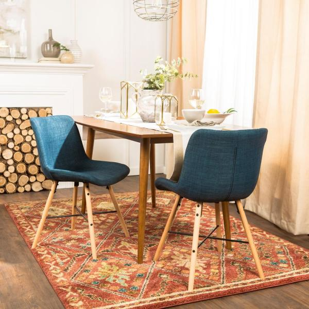 Walker Edison Furniture Company Blue Upholstered Linen Side Chair (Set of 2)