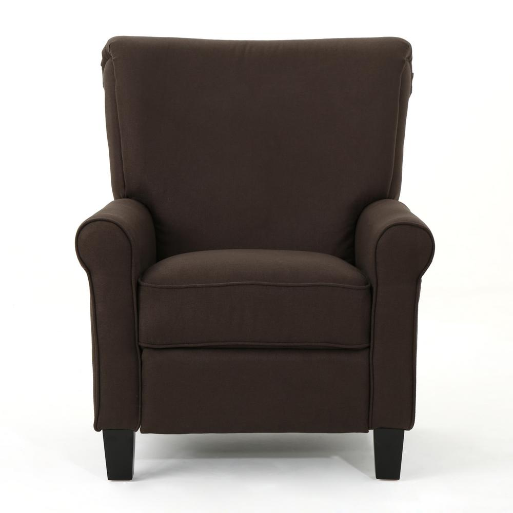 NobleHouse Noble House Thalia Traditional Coffee Fabric Recliner, Coffee/ Dark Brown