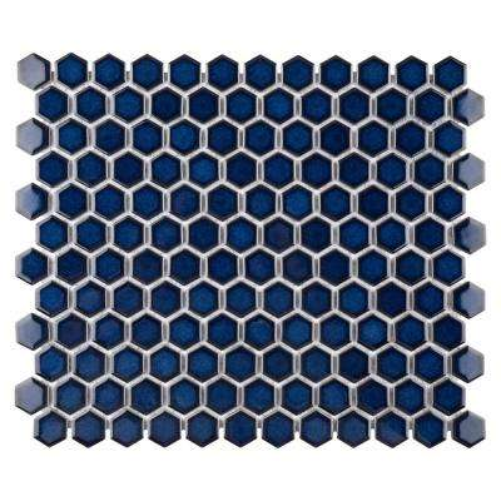 Harlem Hex Cobalt 10-1/4 in. x 11-7/8 in. x 6 mm Porcelain Mosaic Tile