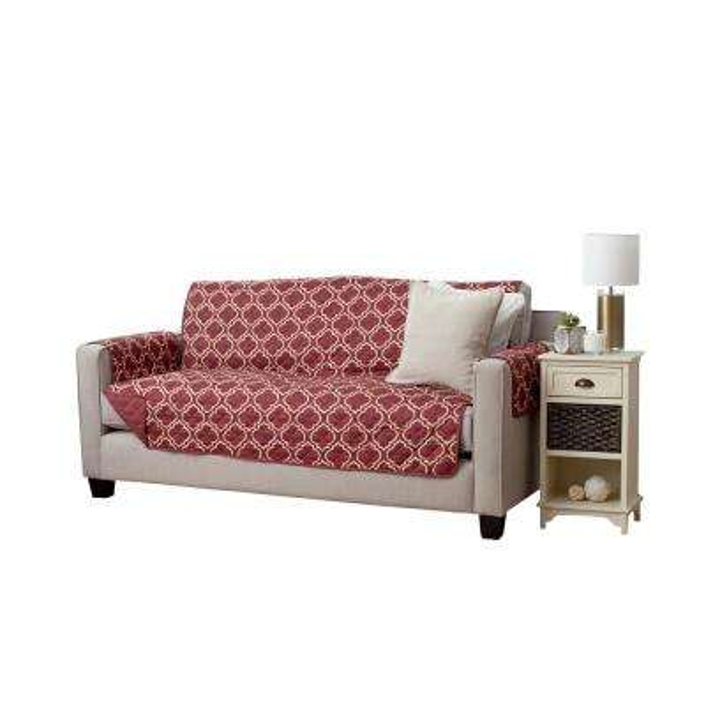 Adalyn Collection Burgundy Printed Reversible Sofa Furniture Protector