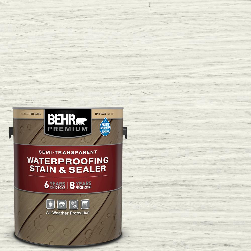 BEHR PREMIUM 1 gal. #ST-337 Pinto White Semi-Transparent Waterproofing Exterior Wood Stain and Sealer
