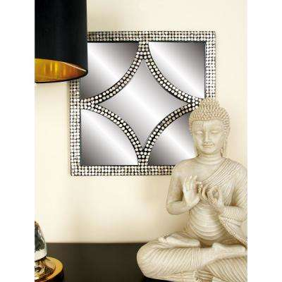 18 in. x 18 in. Modern Gray Framed Wall Mirrors (Set of 4)