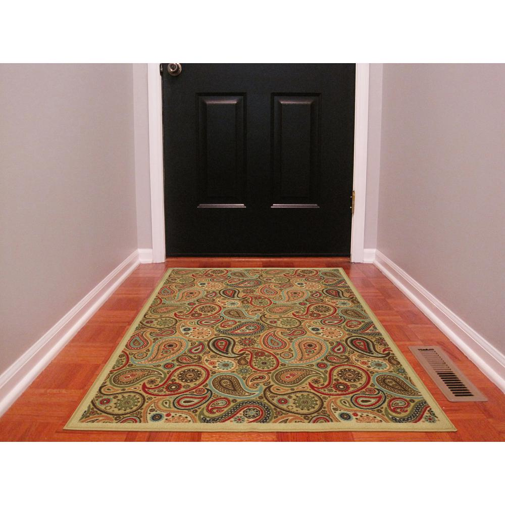 Rooster Tapestry Non Skid Rug: Ottomanson Ottohome Collection Contemporary Paisley Design