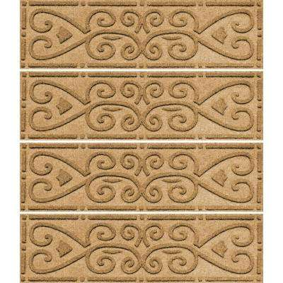Gold 8.5 in. x 30 in. Scroll Stair Tread Cover (Set of 4)