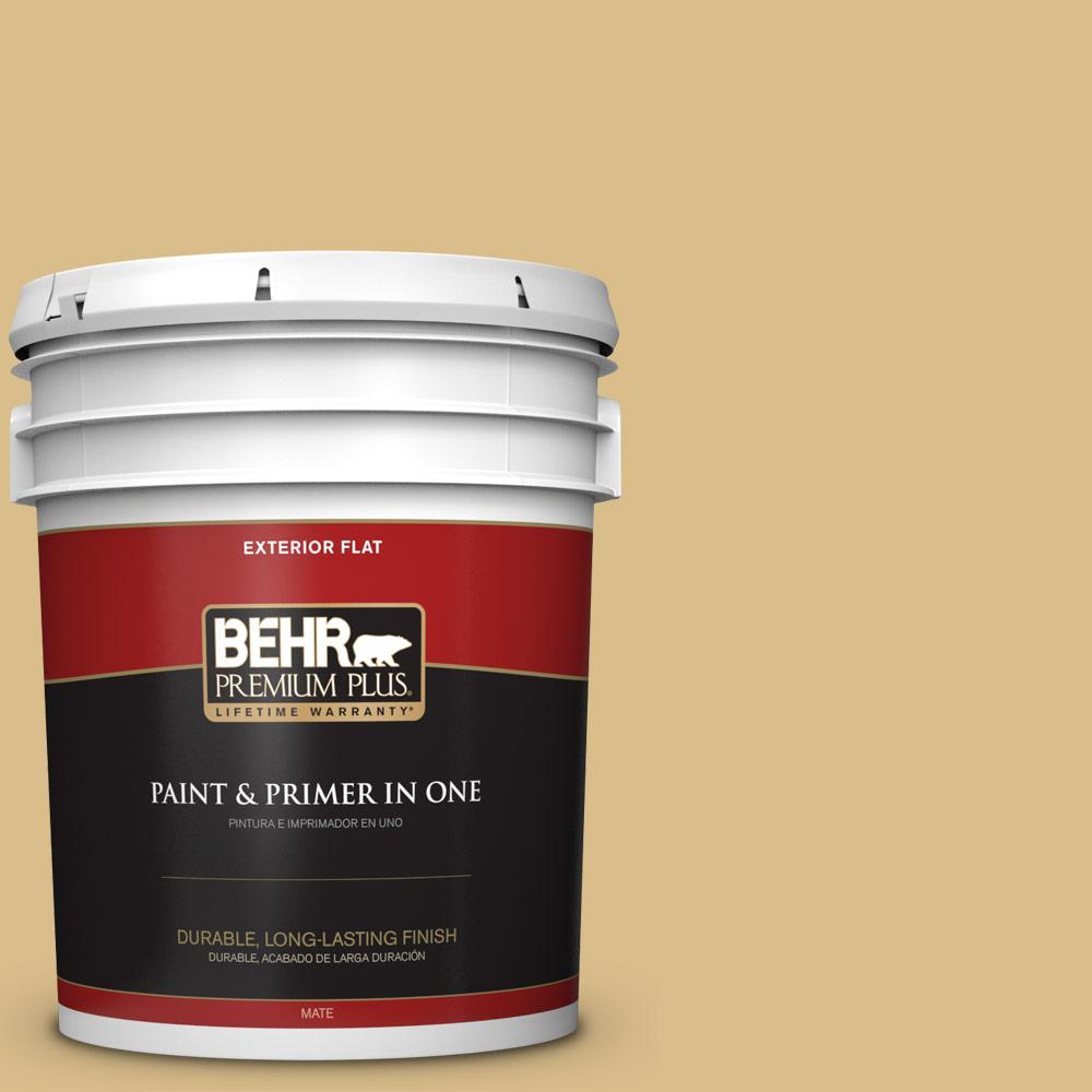 5 gal. #MQ2-18 Honey Tea Flat Exterior Paint and Primer in