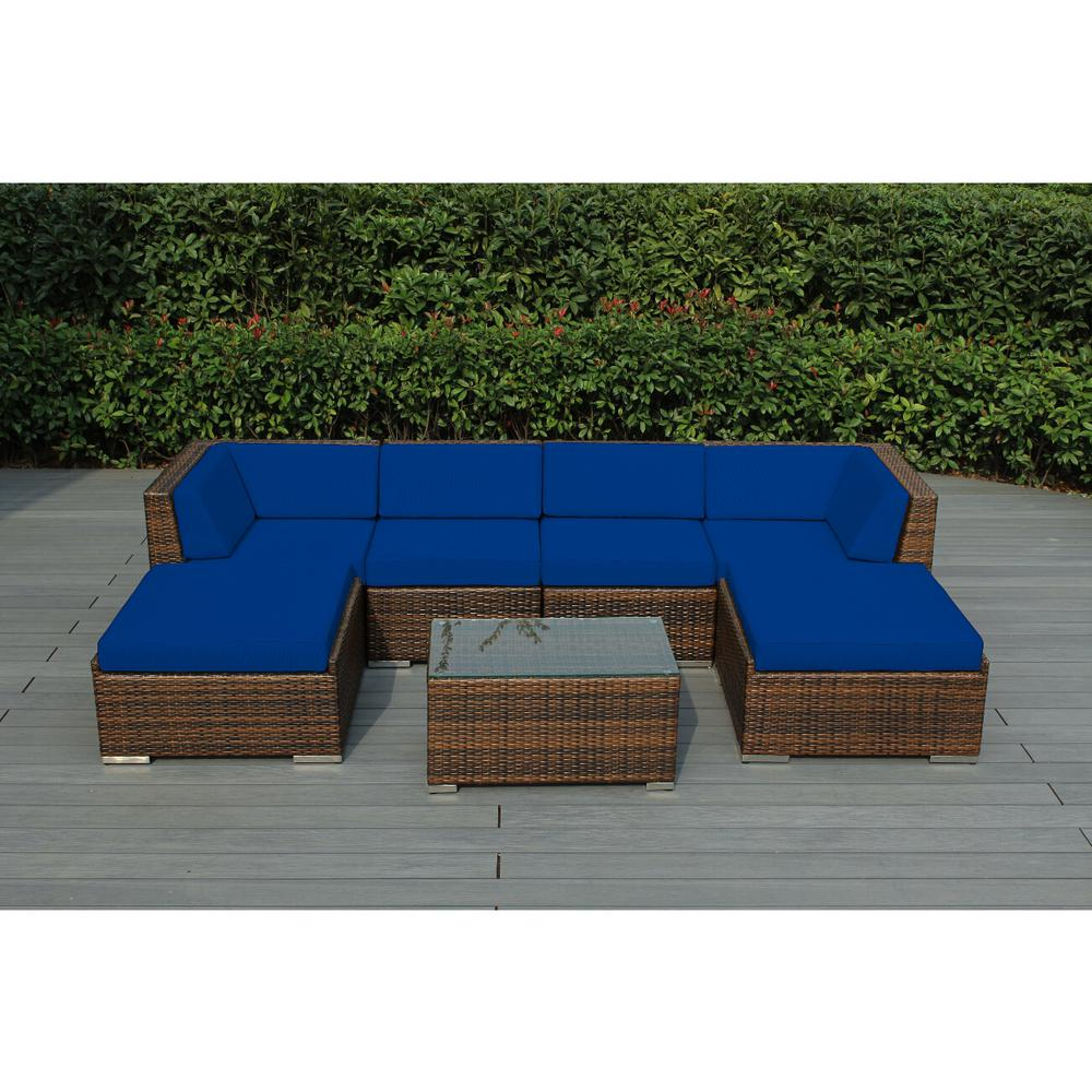 Ohana Depot Mixed Brown 7 Piece Wicker Patio Seating Set With Sunbrella Pacific Blue Cushions