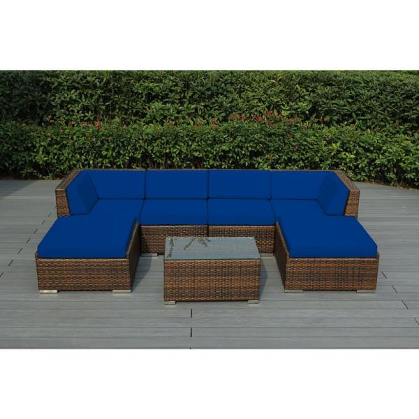 Ohana Mixed Brown 7-Piece Wicker Patio Seating Set with Sunbrella Pacific Blue Cushions