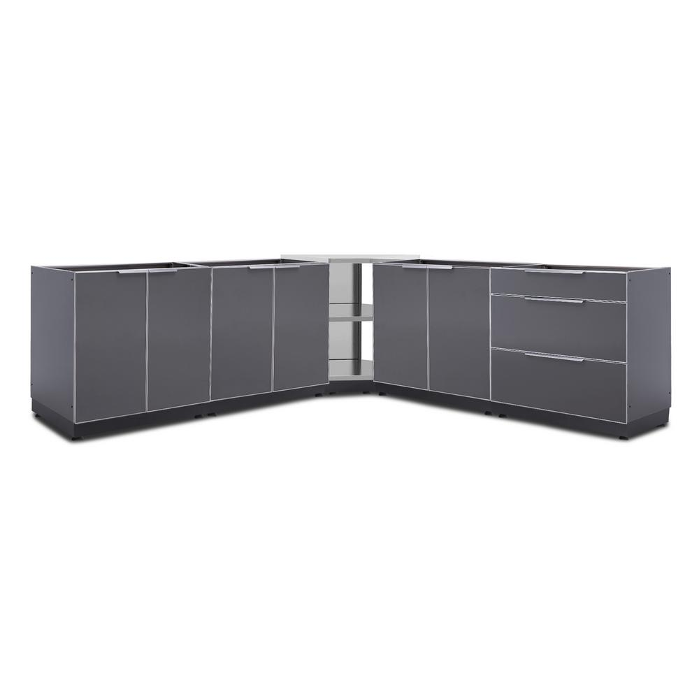 Newage Gray Outdoor Cabinet Set Without Countertops