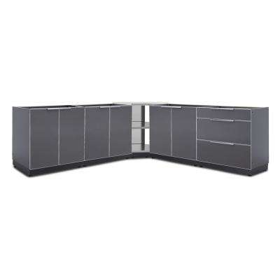 Slate Gray 5-Piece 128 in. W x 36.5 in. H x 24 in. D Outdoor Kitchen Cabinet Set without Countertops