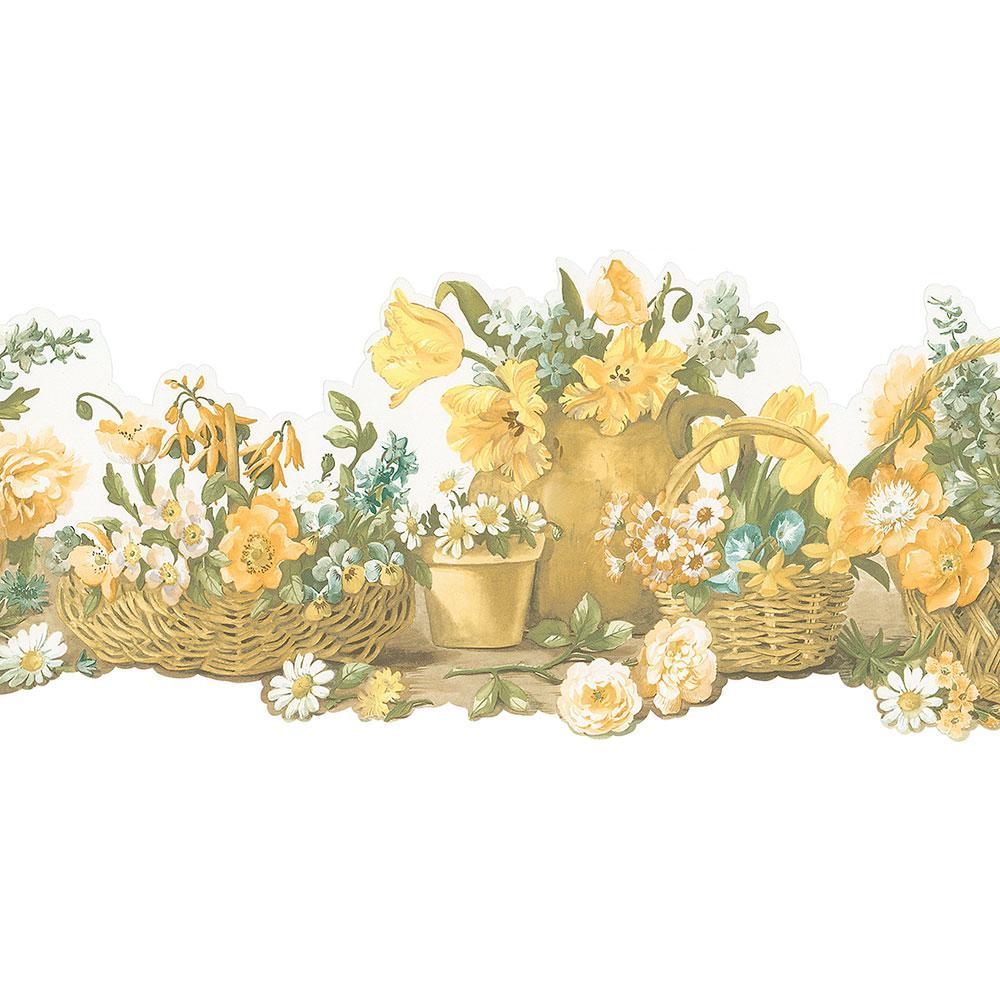 Die Cut Basket Yellow Wallpaper Border